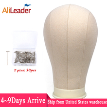 "Alileader הטוב ביותר באיכות לבן בד בלוק ראש 21 25 ""פאה בלוק ראש משלוח Tpins קצף Manequin ראש Stand עבור תצוגת פאת סטיילינג"