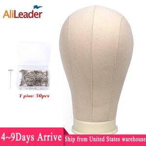 """Image 1 - Alileader En Kaliteli Beyaz Tuval Blok Kafa 21 25 """"Peruk Blok Kafa ücretsiz Tpins Köpük Manken Kafa Standı peruk Ekran için Şekillendirme"""