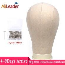 """Alileader melhor qualidade bloco de lona branca cabeça 21 25 """"peruca bloco cabeça livre tpins espuma manequin cabeça suporte para peruca exibição estilo"""