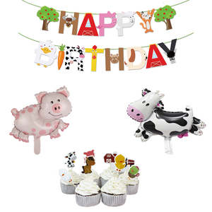 1Set Farm Animal Banner Cow Pig Cake Topper Wrapper Horse Lion Pet Walking Balloons Kids Gift Birthday Party Decoration Supplies(China)