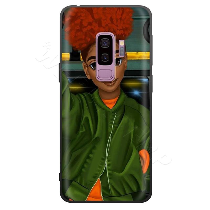 Afro Girls Cute Case For Samsung Galaxy S7 S8 S9 S10 Plus Edge Note 10 8 9 A10 A20 A30 A40 A50 A60 A70