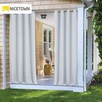 NICETOWN-cortina opaca para exteriores, resistente a la decoloración, con ojal, a prueba de óxido, para porche, Playa y Patio, 11 colores