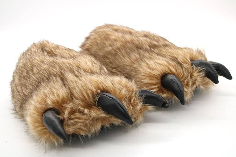 Ha5c9dfd601c94fb89fceff44276ae7820 Pantufa Garra de Urso de Algodão Chinelos Quentes Interior de Inverno das mulheres das Mulheres De Pele Escorregas Senhoras Bonito Animal De Pelúcia Sapatos Femininos De Pele flip Flops