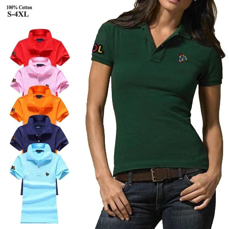 High quality 2020 Summer Womens polos shirts 100% Cotton casual short  sleeve ladies polos shirts fashion slim female tops S 4XL|Polo Shirts| -  AliExpress