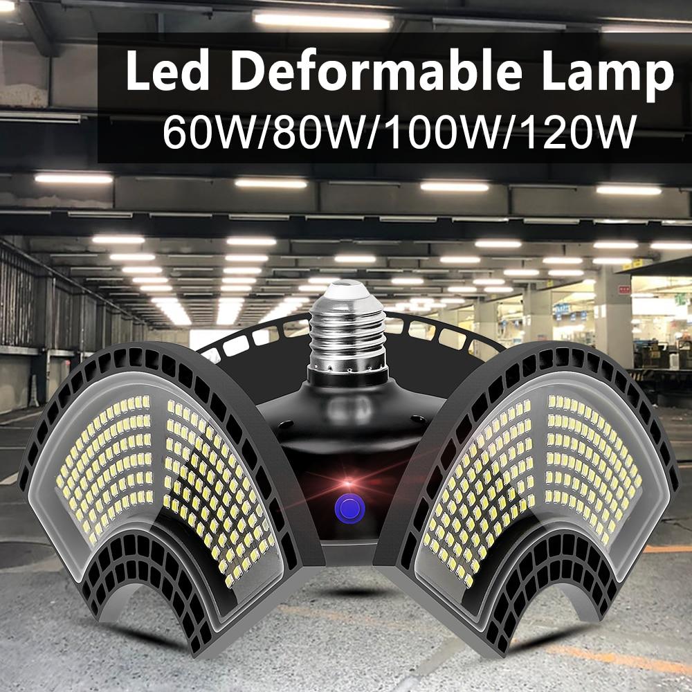 E26 LED Garage Light 60W 80W 100W 120W Industrial Lighting Lamp E27 220V Deformable Indoor LED High Bay Workshop Warehouse Bulb
