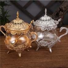 Креативные Золотые/серебряные стеклянные банки с крышками металлическая