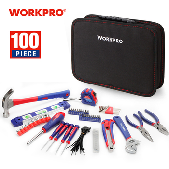 WORKPRO 100PC Household Tool Set Kitchen Mechanic Tool Kit Pliers Screwdrivers Sockets Wrenches Hammer Knife 1