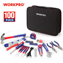 Workpro 100 Pc Huishoudelijke Tool Set Keuken Mechanic Tool Kit Tangen Schroevendraaiers Sockets Sleutels Hamer Mes