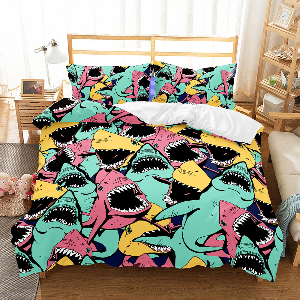 Shark kids bedding set 3d twin full queen comforter sets cartoon duvet cover set bed set fashion bed linen home textile 2019