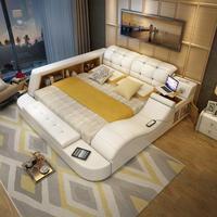 Hot sales Genuine leather bed frame Soft Beds massager storage safe for bedroom