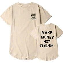 Streetwaa de camiseta divertida de estilo hip hop tirón para hombre de 2020 hacer dinero pecado amigos letras blancas y Camiseta de