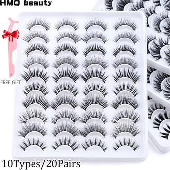 10 Types/20 Pairs 6D Mink Lashes Natural False Eyelashes Dramatic Volume Fake Lashes Makeup Eyelash Extension Silk Eyelashes 1