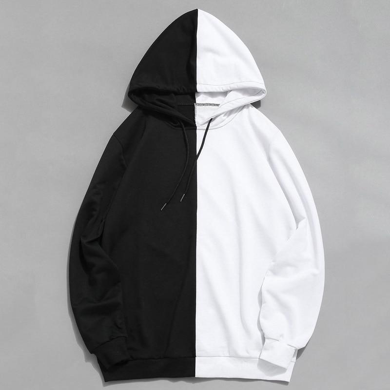 Long Sleeve Men's Hoodies Hood Half Black Half White Cool Plain Hoddies Men Patchwork Cotton Sweatshirt Male Hoody Fashion Women