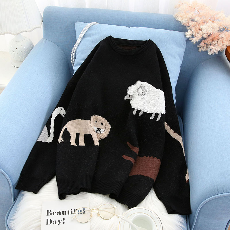 stylish animal women sweater and pullovers casual knitted loose long-sleeved o-neck fashion outwear coat tops