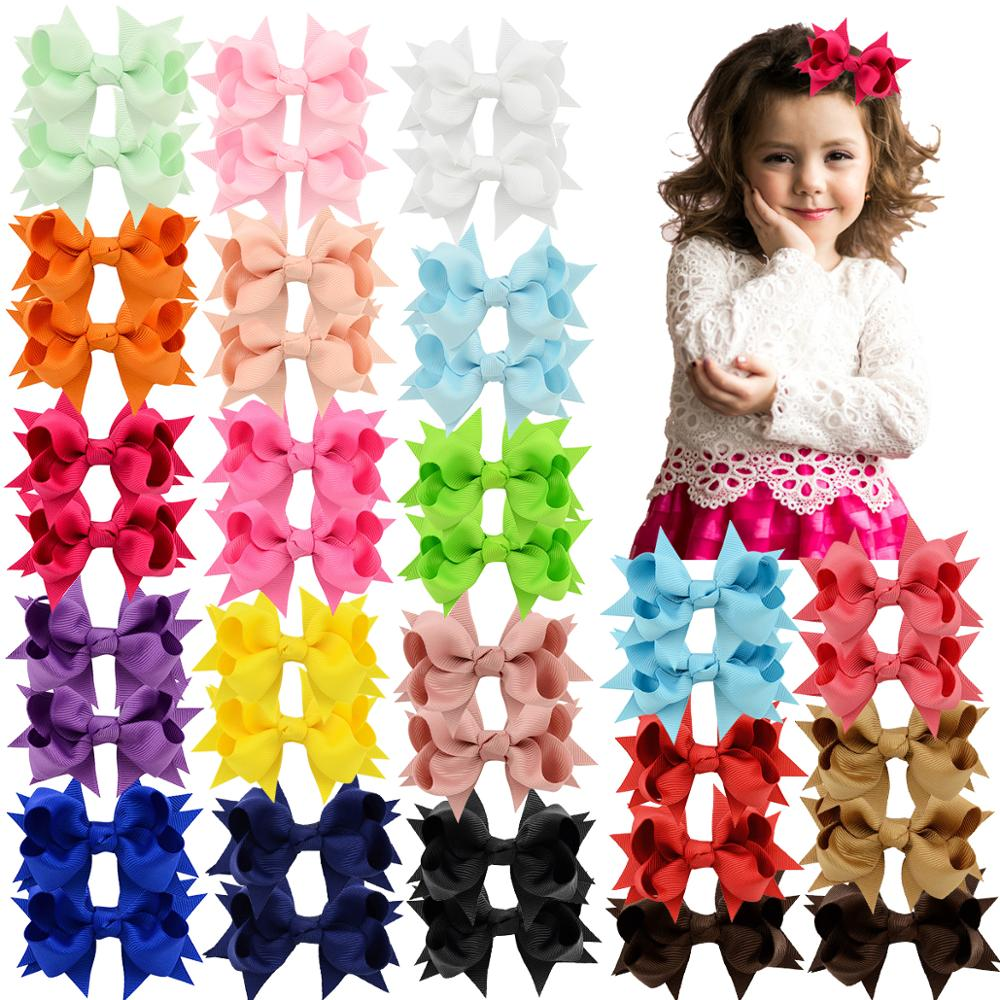 40 Pieces 3 Inch Hair Bows Alligator Hair Clips For Baby Girls Toddlers In Pairs