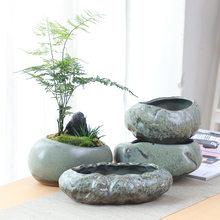 Retro ceramic small flower pot creative desktop home succulent green plant Wenzhu potted utensils Chinese garden handmade
