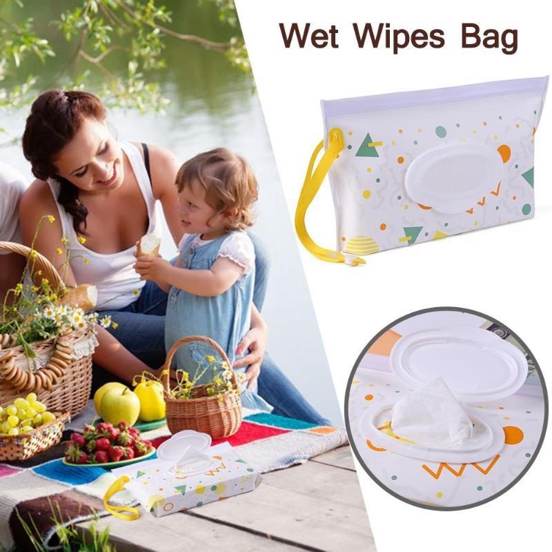 Детская сумка для влажных салфеток, тонкая бумажная практичная сумка для путешествий, портативный клатч, чехол для переноски, многоразовый, экологичный, сумка