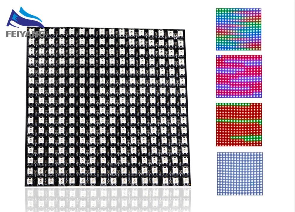 1 pcs 16x16 Pixel WS2812B LED Heatsink chip Digital Individually addressable led module Panel Flexible DIY Display Board DC5VEL Products   -