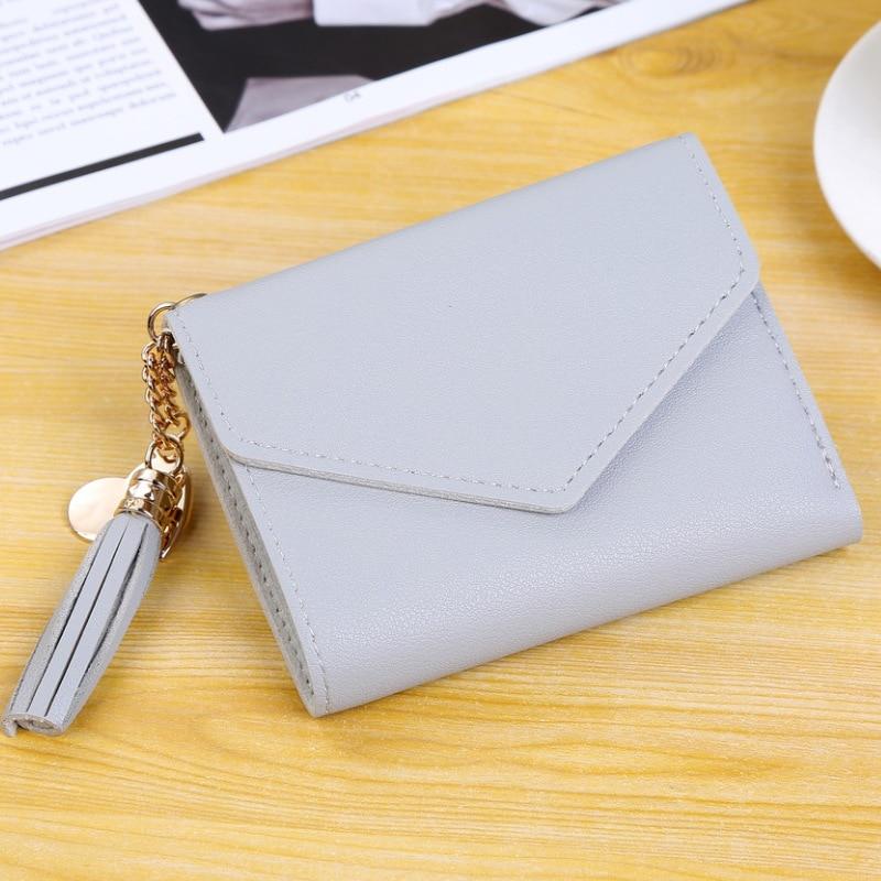 Кожаный кошелек с кисточками для женщин, маленький роскошный бренд, известные мини женские кошельки, кошельки, женские короткие Портмоне на молнии, кошелек Cartera Mujer - Цвет: Pure-Gray
