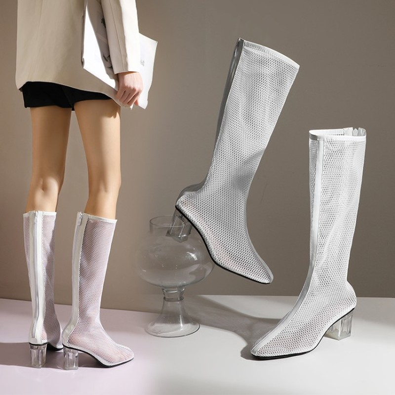 Big Size 34-48 New Fashion Women Knee High Boots Square Heel Zipper Sexy Mesh Boots Summer Cool Boots Breathable Women's Shoes