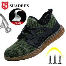 SUADEEX cztery pory roku mężczyźni kobiety buty robocze bhp Air Mesh Anti Smashing stalowa nasadka na palec odporne na przebicie obuwie robocze do Dropshipping