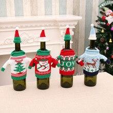 Beer Christmas Decoration Bottle Set Sweater Bottle  Restaurant Bar Festival Decoration Bottle Accessories  Beer Santa Claus