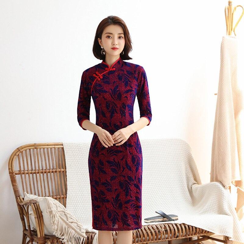 Fashion Women's Knee Length Cheongsam New Arrival Chinese Style Velour Dress Elegant Qipao Vestidos Size S-4XL