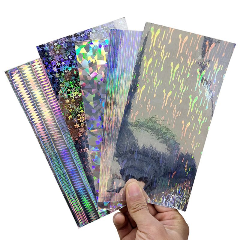 10pcs/lot Fishing Lure Stickers 20X10cm Silver Geometric Figure Laser Holographic Sticker Fishing Lure DIY Material Accessories