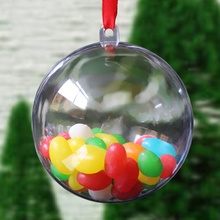 Christmas Decoration Acrylic Transparent Hanging Pendant Hollow Festive Ball Candy