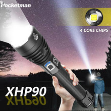 Most Powerful xhp90 led flashlight 26650 usb torch xhp70 xhp50 lantern 18650 Rechargeable battery hunting lamp hand light(China)