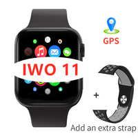 IWO 11 + dos correa de la/Las Mujeres Hombres reloj inteligente GPS de Monitor de presión arterial Bluetooth IWO11 Smartwatch para Android IOS
