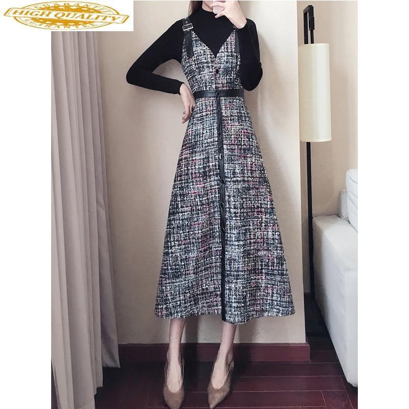 Korean Vintage Two Piece Set Party Dress Elegant OL Office Dress Spring Autumn Dress Women Dresses Clothes 2020 Vestidos ZT2118