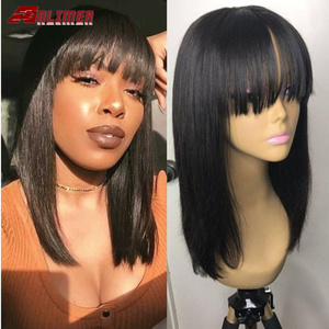 Anlimer Short Bob Lace Front Human Hair Wig Brazilian Remy Hair with Bangs Pre Plucked Natural Hairline Fringe wig For Women(China)