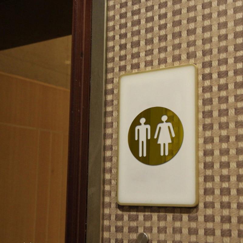 3D Acrylic Mirror Round Toilet Door Sign Men Women Bathroom WC Black Gold Silver Modern Wood Base Wall Sticker Home Decor