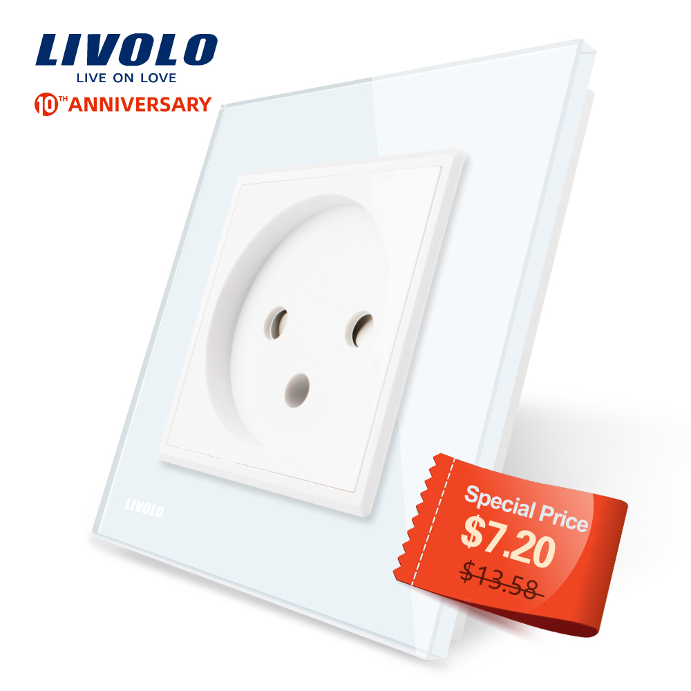Livolo EU Standard Israel Power Socket, Crystal Glass Panel,100~250V 16A Wall Power Socket,C7C1IL-11/12/13/15(7colors),no Logo