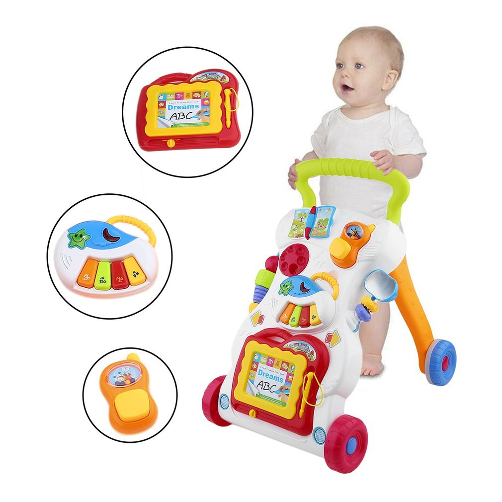 Baby Walker Toddler Trolley Sit-to-Stand Walker for Kid's Early Learning Educational Musical Adjustable Baby First Steps Car Hot