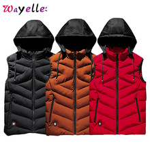 Mens Winter Vests Plus Size 6-8XL Down Jacket Men Parkas Free Shipping Sleeveless Hooded Thick Warm Parka