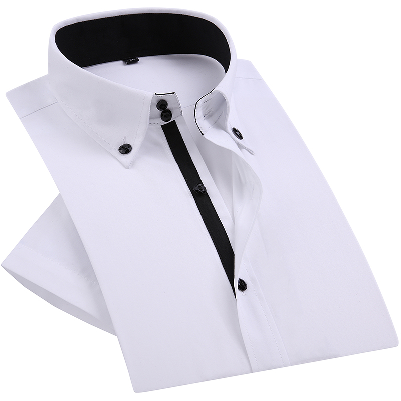 Summer Smart Casual Diamond Buttons Mens Dress Shirt White Short Sleeve Luxury High Collar Slim Fit Stylish Business Shirts