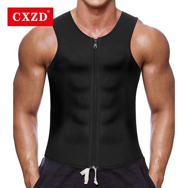 CXZD 2019 Men Waist Trainer Vest for Weightloss Hot Neoprene Corset Body Shaper Zipper Shapewear Slimming Belt Belly Men