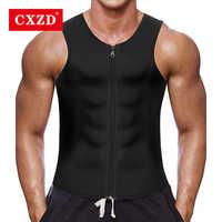CXZD 2019 hommes taille formateur gilet pour perte de poids chaud néoprène Corset corps Shaper Zipper Shapewear minceur ceinture ventre hommes