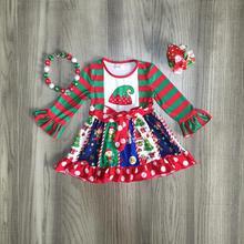 Рождественское платье для маленьких девочек из молочного шелка; сезон осень-зима; цвет красный, зеленый; платье эльфа в полоску с оборками; изысканное платье до колена; подходящие аксессуары из хлопка