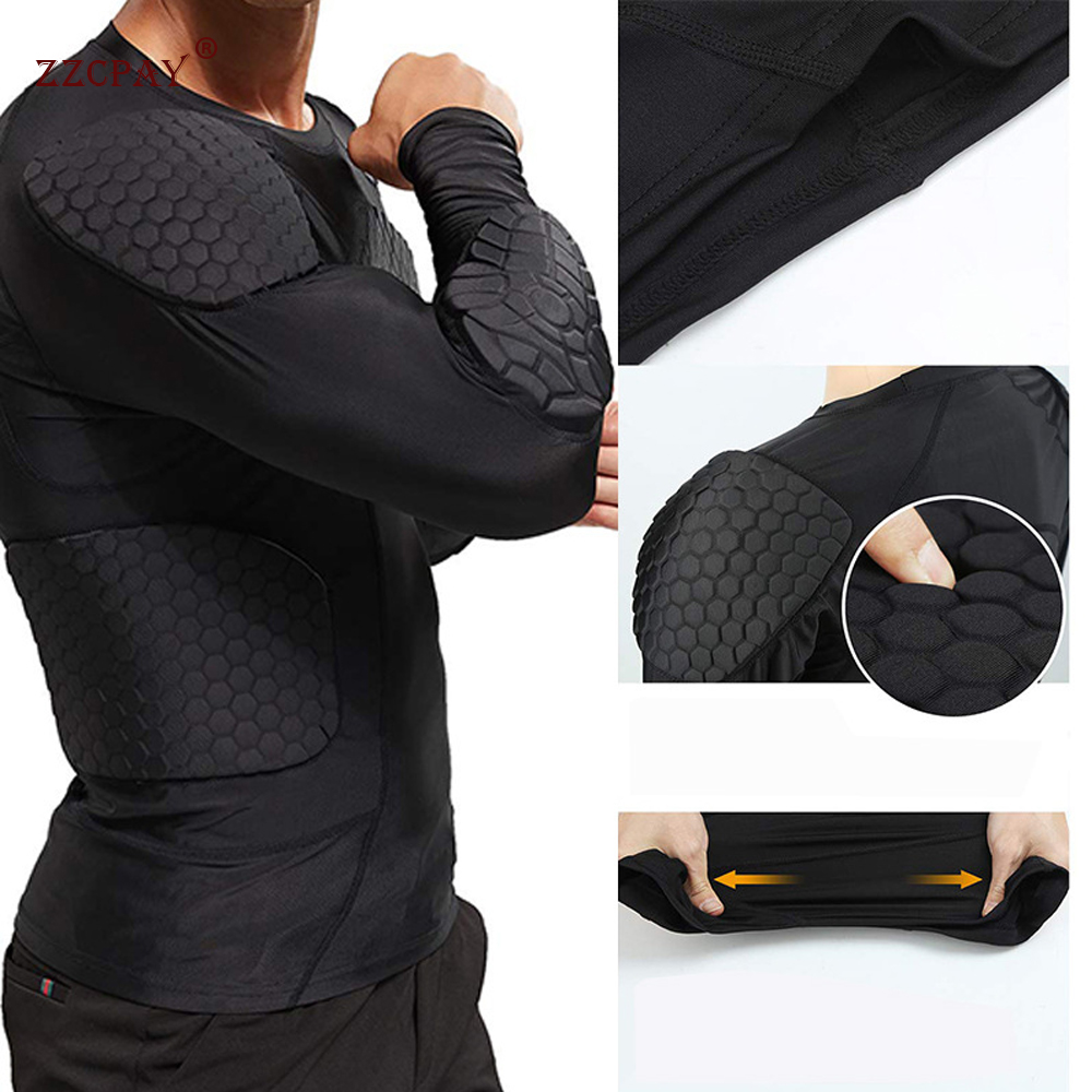 Men's Sweatshirt Compression Shirt Ribs Chest Protector Basketball Football Protective Equipment Training Ball Suit Long Sleeve