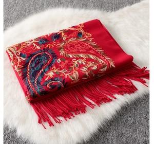 Image 5 - Luxury brand New women scarf high quality Embroider Flower winter cashmere scarves lady shawls wraps female pashmina echarpe