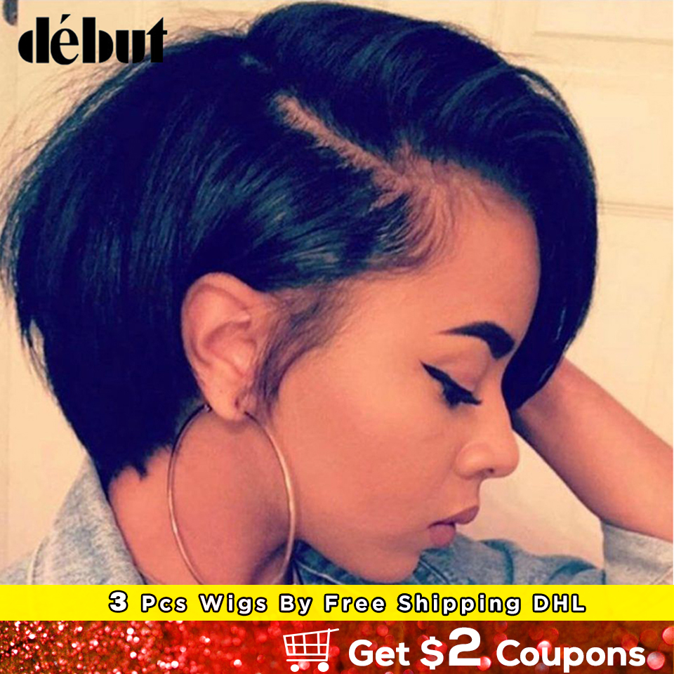 Debut Natural Black Color 100% Human Hair Wigs For Women Remy Brazilian Short Hair Wigs Bob Wigs Ladies Cheep Wigs Black Women
