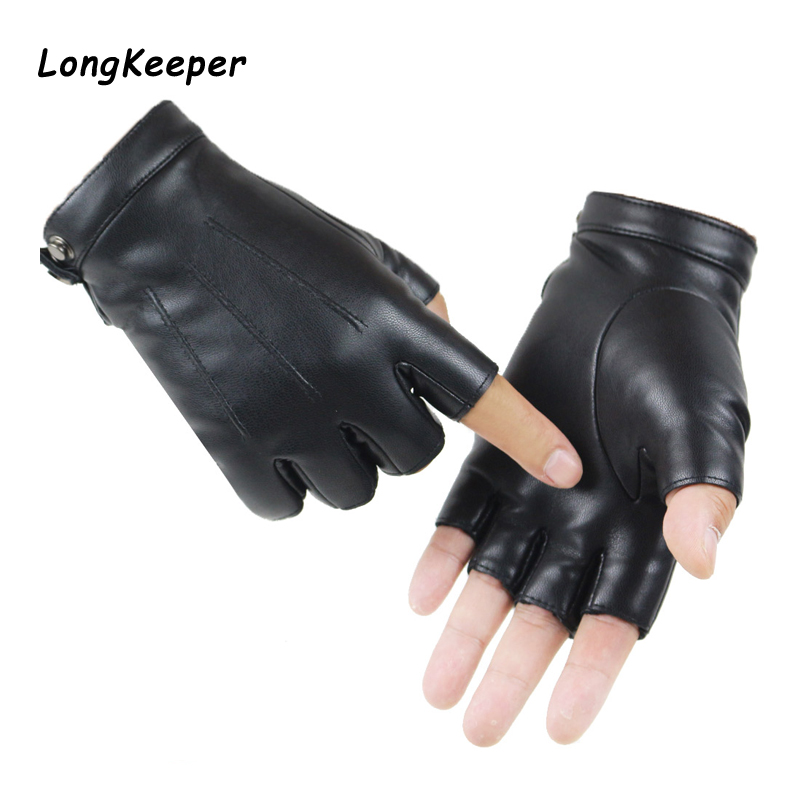 2020 Women Black PU Leather Fingerless Gloves Solid Female Button Warm Half Finger Driving Men Motor Punk Gloves Thick Guantes