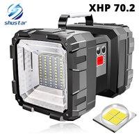 Reflector LED superbrillante recargable, linterna de doble cabeza con cuentas de lámpara XHP 70,2, luz de camping impermeable