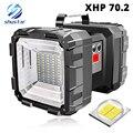 Wiederaufladbare Super helle LED Suchscheinwerfer Doppel kopf LED Taschenlampe scheinwerfer Mit XHP 70,2 Lampe wulst wasserdichte camping licht