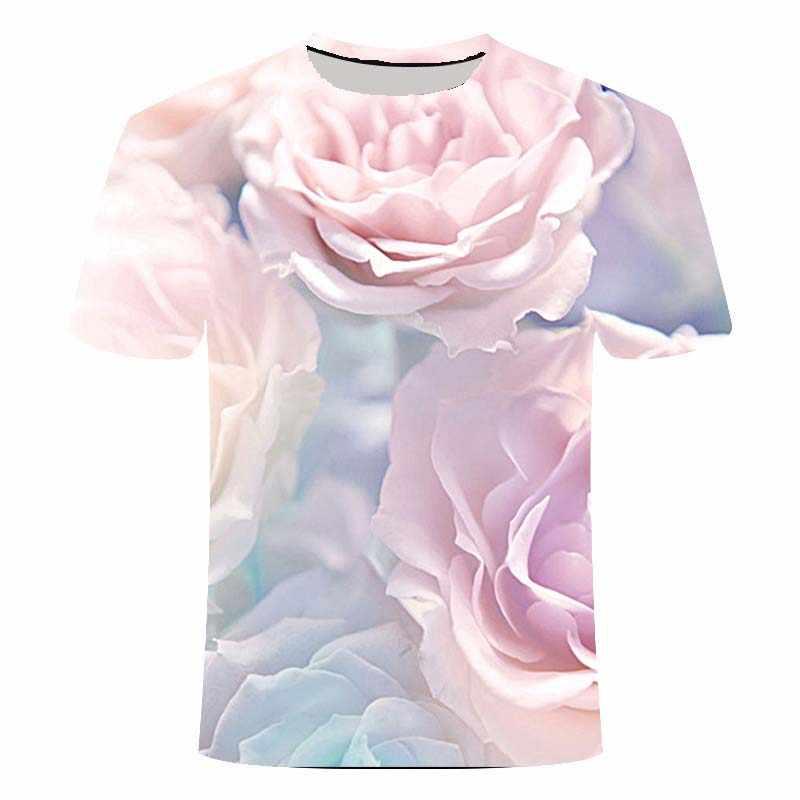 2020 tシャツメンズ夏のtシャツ楽しいローズフラワー 3D tシャツ中国風のtシャツストリートグラフィックtシャツ男性のtシャツ