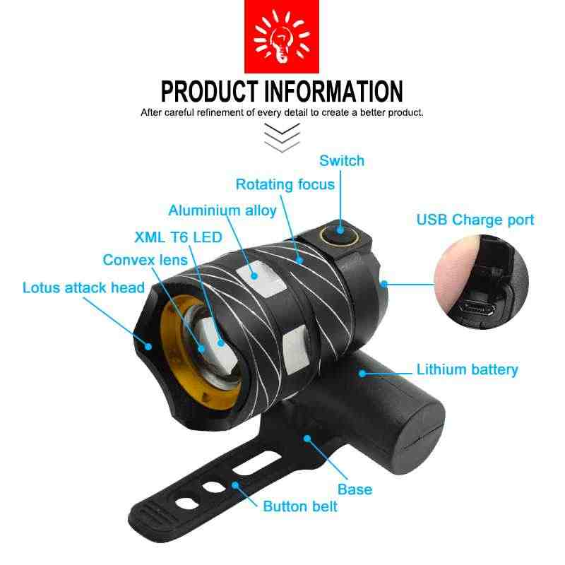 15000LM Zoom XM-L T6 LED Front Bike Bicycle Light Headlight Headlamp USB Line