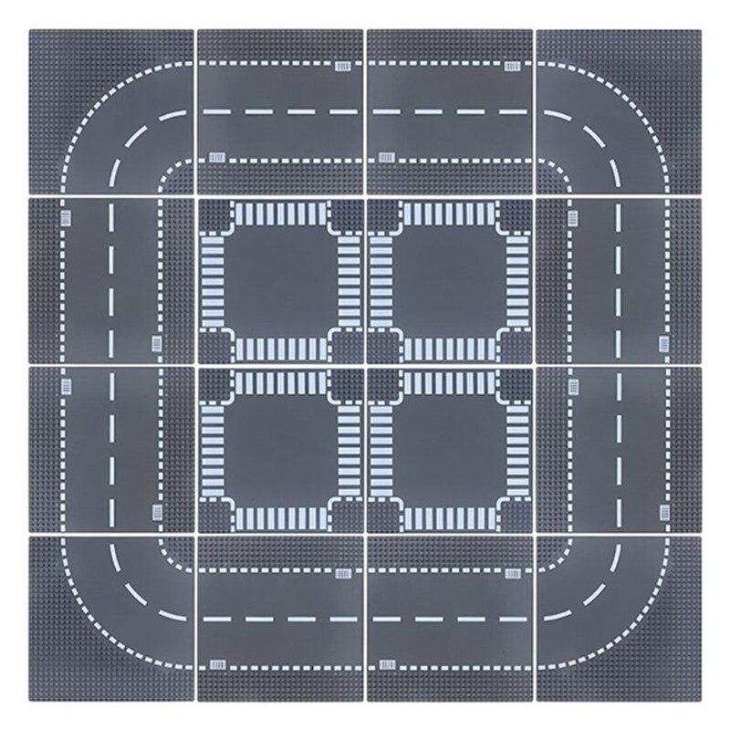 Estrada da cidade rua placa base reta, crossroad curva, diy criador, blocos de construção, conjuntos de tijolos, base de tijolos, brinquedos educativos, crianças